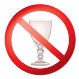 No alcohol sign. With glass prohibited  symbols in photo realistic style Stock Photo