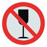 No alcohol sign isolated drink zone crossed goblet. No alcohol sign, isolated drink prohibition zone crossed goblet signage, drinking is not permitted Royalty Free Stock Images