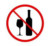 No alcohol sign in red prohibition circle isolated on white vector illustration