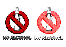 No alcohol sign. Set. Vector hand drawn illustration in vintage engraved style. isolated on white background Royalty Free Stock Image