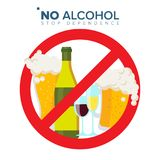 No Alcohol Sign Vector. Strike through Red Circle. Alcohol Abuse Concept. Prohibition Icon. Isolated Flat Cartoon. No Alcohol Sign Vector. Strike through Red vector illustration