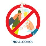 No Alcohol Sign Vector. Strike through Red Circle. Prohibiting Alcohol Beverages. Isolated Flat Cartoon Illustration Royalty Free Stock Photo