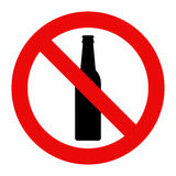 No alcohol sign. Warning sign isolated on white background royalty free illustration