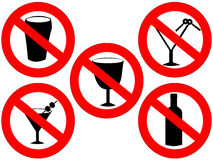 No alcohol signs Royalty Free Stock Photos