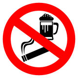 No alcohol and smoking sign Stock Images