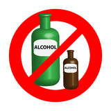 No alcohol symbol isolated on white background. Sign and symbols Royalty Free Stock Photography