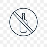 No alcohol vector icon isolated on transparent background, linea. No alcohol vector outline icon isolated on transparent background, high quality linear No stock illustration