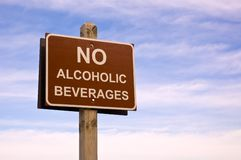 No alcoholic beverages. Sign, commonly seen in the public areas Royalty Free Stock Photo