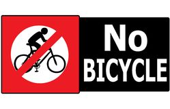No Allow Bicycle Sign Label Royalty Free Stock Photo