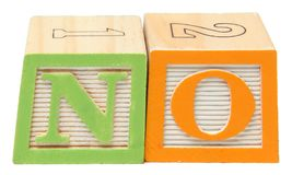 NO in Alphabet Blocks Royalty Free Stock Photos