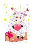 No amor com o cordeiro com um coração Fotografia de Stock Royalty Free