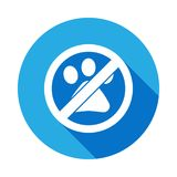 No Animal, prohibited sign flat icon with long shadow stock illustration