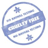 No Animal Testing - Cruelty Free Rubber Stamp. A rubber stamp image with the words cruelty free and no animal testing on it Stock Photos