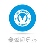 No animals testing sign icon. Not tested symbol. Royalty Free Stock Photography