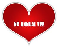 NO ANNUAL FEE on red heart sticker label. Royalty Free Stock Photo