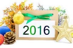 2016 no ano novo do papel marrom da etiqueta Imagens de Stock