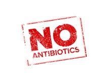 NO antibiotics rubber stamp stock illustration