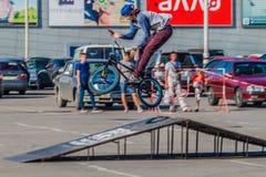 No ar em BMX Fotografia de Stock Royalty Free