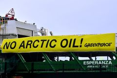 No Arctic Oil Banner on Greenpeace Ship Esperanza. A close-up of the banner on Esperanza. This is the largest vessel in the fleet of Greenpeace, the Royalty Free Stock Photo