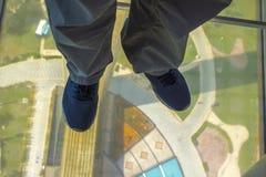 No assoalho de vidro fotografia de stock royalty free