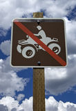 No ATV Allowed Sign. Sign showing ATV restrictions, no ATV or off-road vehicles allowed Royalty Free Stock Photo