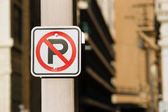No Auto Parking Sign Bolted to Light Post Downtown Royalty Free Stock Photography