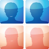 No avatar - four icon set. No avatar/photo icon set of 4 glossy icons - with/without smile and male/female