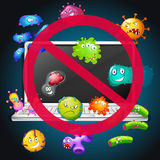 No bacteria sign on computer Royalty Free Stock Images