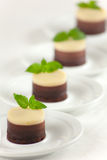 No Bake 3 Chocolates Cheesecakes Royalty Free Stock Photos