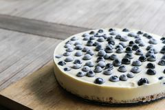 No Bake Cheese Cake. Blueberry no bake cheese cake just taken out from the fridge Royalty Free Stock Photography