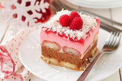 No Bake Chocolate, Raspberry and Savoiardi Layer Cake Royalty Free Stock Photography