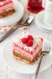 No Bake Chocolate, Raspberry and Savoiardi Layer Cake Stock Photos