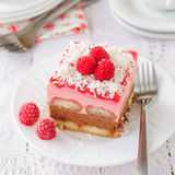 No Bake Chocolate, Raspberry and Savoiardi Layer Cake Royalty Free Stock Photos