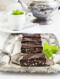 No-bake chocolate slice. Served on tray Royalty Free Stock Image