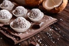 No bake coconut balls. Truffles - classic no bake Chocolate coconut balls Stock Images