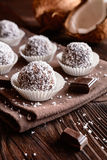 No bake coconut balls. Truffles - classic no bake Chocolate coconut balls Stock Image