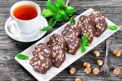 No Bake Hazelnuts Peanuts Chocolate Cookies, top view Royalty Free Stock Photos