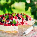 No-bake Raspberry Cheesecake. No-bake Fresh Raspberry Cheesecake with Red and Black Raspberries and Melissa, Summer Cake, copy space for your text, square Stock Images