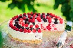 No-bake Raspberry Cheesecake Royalty Free Stock Photo