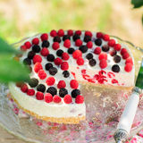 No-bake Raspberry Cheesecake Royalty Free Stock Photo