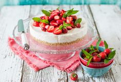No Bake Strawberry Cheesecake. Decorated with Fresh Berries and Mint Royalty Free Stock Images