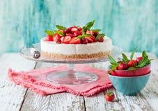 No Bake Strawberry Cheesecake Stock Photo