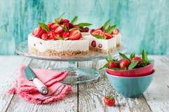 No Bake Strawberry Cheesecake Stock Image