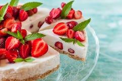 No Bake Strawberry Cheesecake Stock Photos