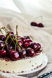 No bake vanilla cheesecake mousse with cherries and chocolate Stock Photos