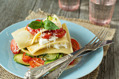 No-bake vegetarian lasagna with vegetables Royalty Free Stock Images