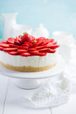 No baked strawberry cheesecake on white background Stock Photography