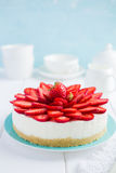 No baked strawberry cheesecake on white background Royalty Free Stock Image