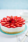 No baked strawberry cheesecake on white background Royalty Free Stock Photos