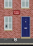 No ball games. With broken window by ball Royalty Free Illustration